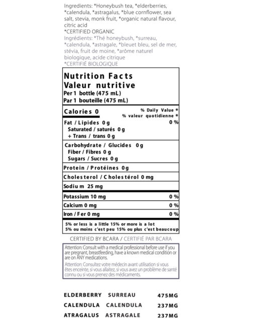 nutrition label for thrive remedies defense flavour