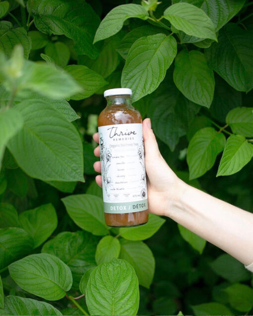 woman's hand holding a bottle of thrive remedies detox flavour in the bushes