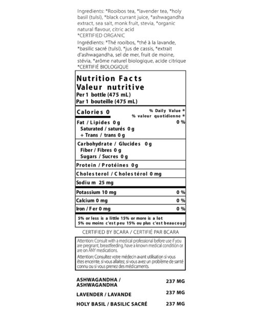 nutrition label for thrive remedies stress flavour