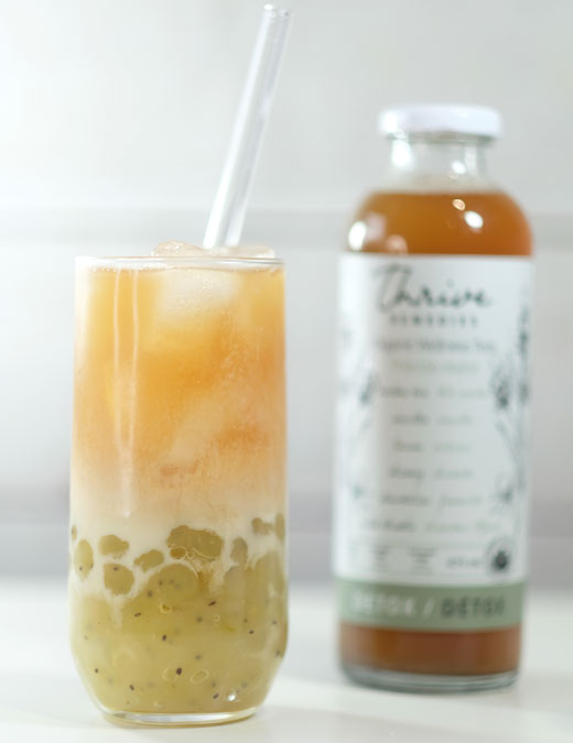 Detox Bubble Tea with Kiwi Pearls