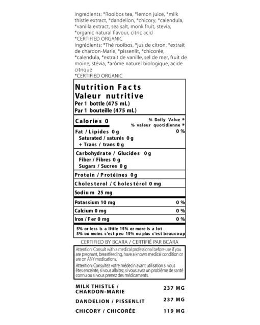 thrive remedies detox flavour nutrition label